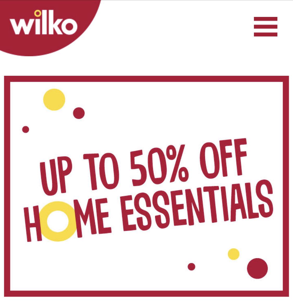 WILKO up to 50% of home essentials
