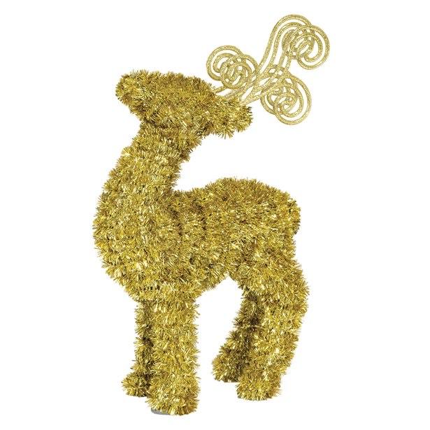 GOLD 3D Tinsel Deer Gold - 29cm - £2.99 + £3.95 delivery @ Partydelights