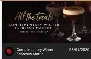 Free drink from all bar one (espresso martini) - perfect for staff parties - Download of App Required