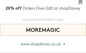 20% off orders over £60 at Shop Disney until midnight tonight - exclusions do apply