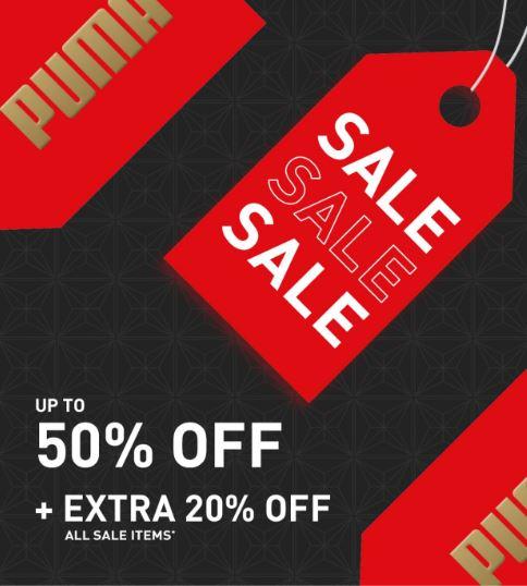 50% sale + extra 20% off at Puma Shop
