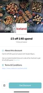 Iceland £5 off a £40 spend via Student Beans (online)