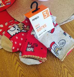 Girls Reindeer Red&Gold Ankle Socks 3pairs £1.50 at Poundland Great Barr Walsall Road