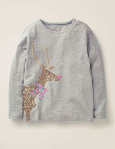 BODEN Festive Sequin kids T-Shirt - Grey Marl Reindeer £11.95 delivered