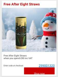 Free After Eight Straws when you spend £80 inc VAT @ Staples