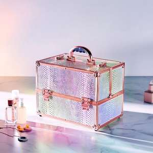 Large Holographic Makeup Case with Rose Gold Coloured Frame - 15% off with Code + Free Delivery @ Beautify