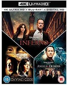 Inferno/the da Vinci code/angels and demons trilogy 4k £20.99 @ Amazon