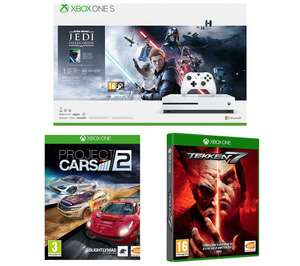 Xbox One S 1TB + Star Wars Jedi Fallen Order Deluxe Edition + Project Cars 2 + Tekken 7 + 1 Month EA Access £179 from Currys PC World