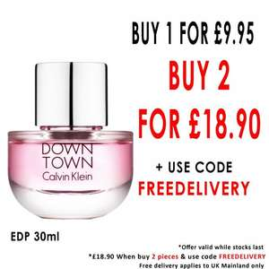 Two for £18.90 Calvin Klein Down Town EDP 30ml Delivered with code @ Beauty Base