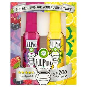 Air Wick ViPoo Pre-Poo Toilet Spray Air Freshener Gift Pack, Lemon Idol & Fruity Pin Up Scents - 2 x 55ml £8.99 (Prime) / £13.48 (nP) Amazon