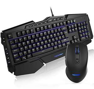 TeckNet 7 LED Illuminated USB Wired Gaming Keyboard & Mouse Combo £16.99 for prime (+£4.49 non-prime) Sold by BLUETREE & Fulfilled by Amazon