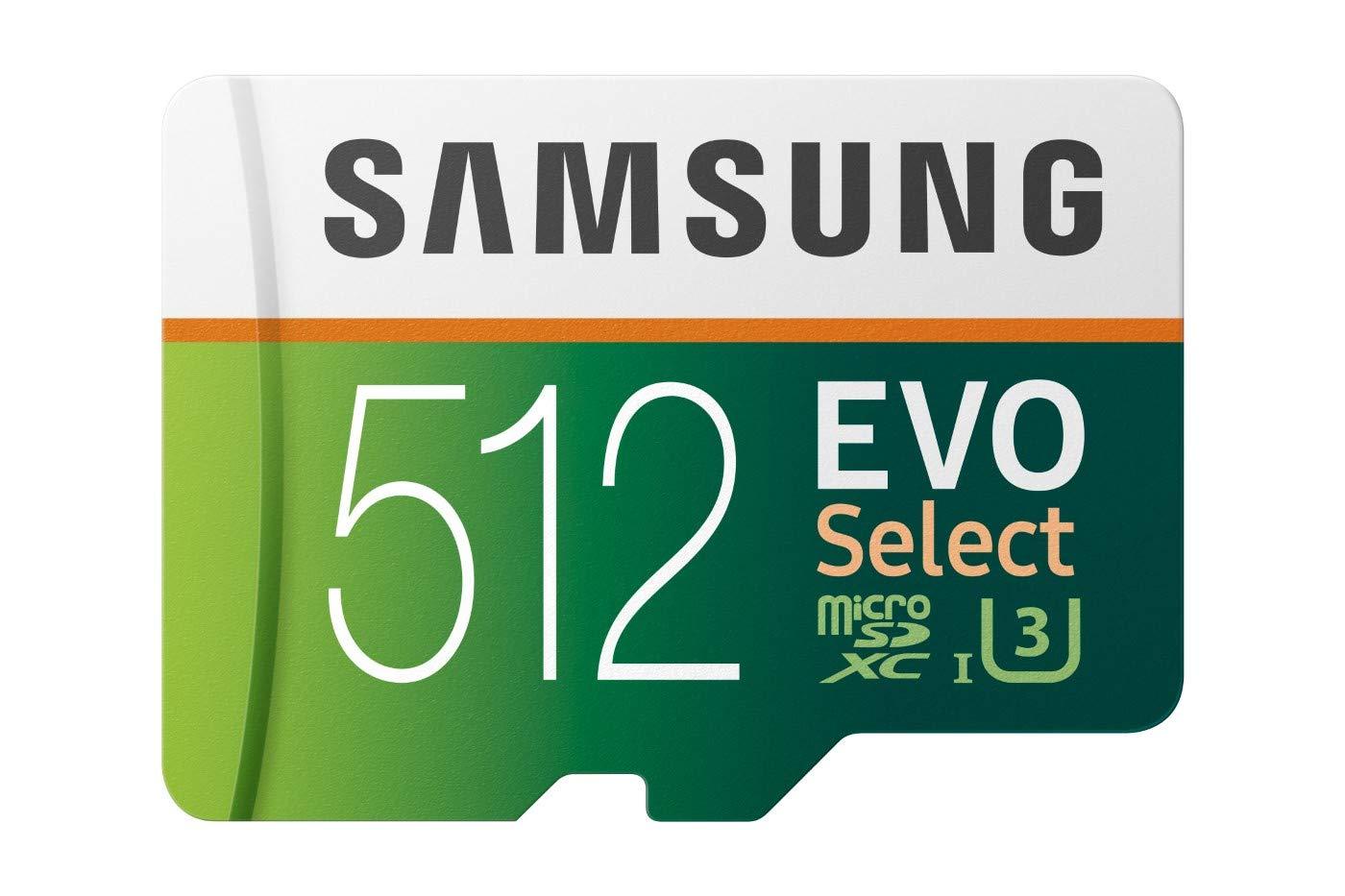 Samsung EVO Select 512 GB microSDXC Up to 100MB/s, Class 10 UHS-I U3, 4K Video + Adapter £86.49 (£66.49 with Samsung Cashback) @ Amazon