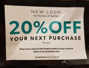 NEW LOOK 20% offer instore and online