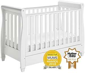 Babymore Eva Sleigh Cot Bed Dropside with Drawer (White Finish) + MATTRESS £167.99 @ Amazon