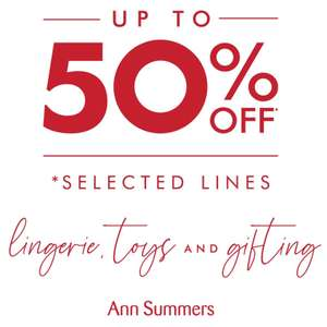 Ann Summers up to 50% off lingerie, sex toys and gifts, plus an EXTRA 20% OFF CODE & 15% Topcashback