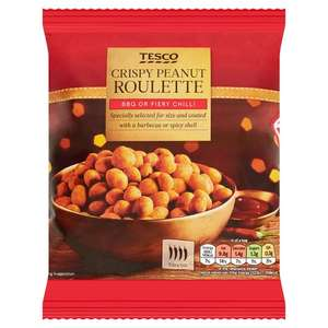 Tesco Bbq & Chilli Roulette Coated Peanuts 200G £0.75 / Tesco Mocha, Peanut & Dark Chocolate Mix 300G £1 @ Tesco