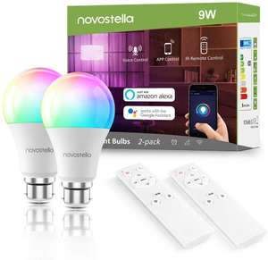 Pair of Smart Bulbs - Colour, BC, Remote - £22.49 @ Sold by Ustellar-EU and Fulfilled by Amazon.