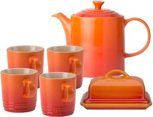 Le Creuset 4 Coffee Mugs, 1 Grand Teapot and 1 Butter Dish, Volcanic, Stoneware @ Amazon.co.uk £79.99
