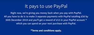 PayPal £15 credit back when you spend £50