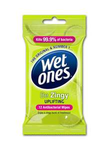 Wet Ones Be Zingy Antibacterial Wipes, 6 X Packs of 12 Wipes £1.20p (Prime) £5.69 (Non-Prime) @ Amazon