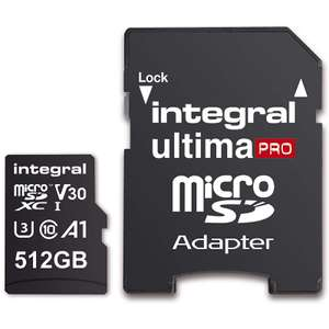 Integral 512GB Premium Micro SD Card SDXC A1 Class 10 UHS-I U3 V30 + Adapter - 100/80MB/s R/W for £49.99 Delivered @ Mymemory