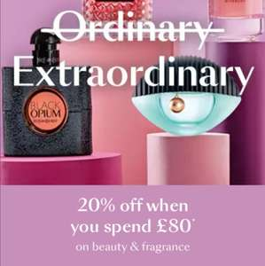 10% Off £40, 15% Off £60, 20% Off an £80 spend on beauty and fragrance at Debenhams