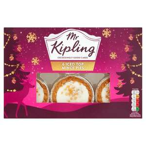 Mr Kipling Iced Top Mince Pies /Mr Kipling 6 Snowflake Mince Pies Any 2 for £1.50 @ Tesco