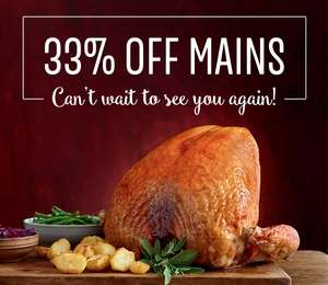 33% off Mains at Toby Carvery - Poss account specific