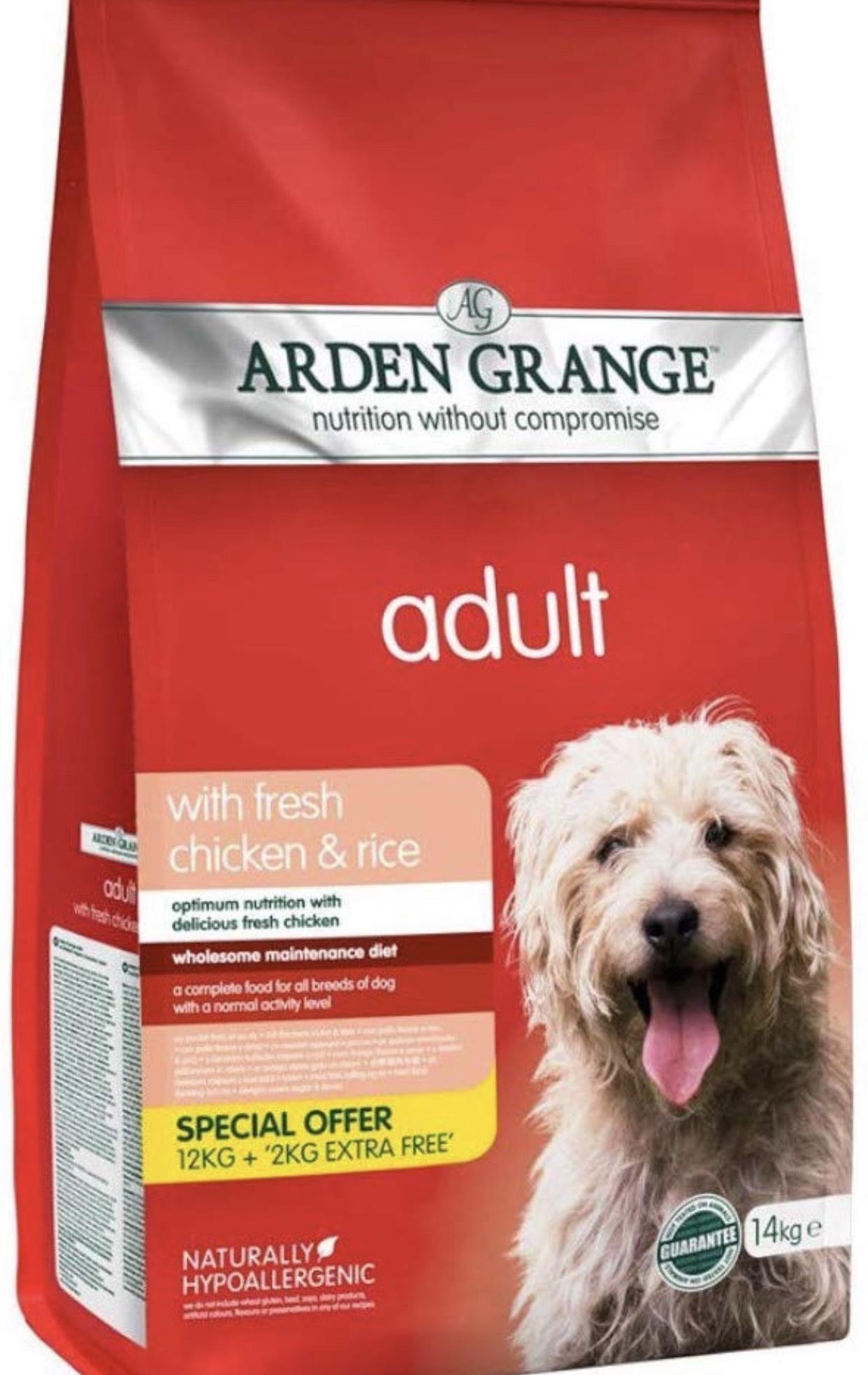 Arden Grange Dry Dog Food 12kg + 2kg free £23.48 at Amazon