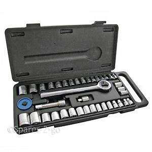 """40 Piece Mechanics Socket Wrench Set 1/4"""" 3/8"""" Extension Bar Metric SAE Tool Kit £6.99 Free delivery @ ebay spares-2-go"""