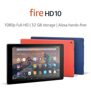 Fire HD 10 Tablet, 1080p Full HD Display, 64GB, Black / Blue / Red (7th Gen) With Special Offers £99.99 at Amazon