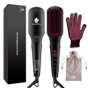 MiroPure 2 in 1 Ionic Hair Straightener Brush - £22.99 Sold by MookaEU and Fulfilled by Amazon - Lightning deal