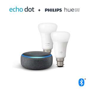 Echo Dot (3rd Gen) + Philips Hue White Smart Bulb - 2 Pack (B22/E27) for £34.98 @ Argos (Free Click & Collect)