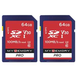 MyMemory 64GB V30 PRO High Speed SD Card (SDXC) UHS-1 U3 - 100MB/s - 2 Pack £13.99 @ MyMemory