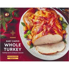 Half Price Whole Turkey Topped with Streaky Bacon 4kg for £13 @ Iceland