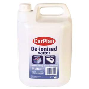 CarPlan De-ionised water - 5 litres for irons / car batteries £1.50. Add on item @ Amazon