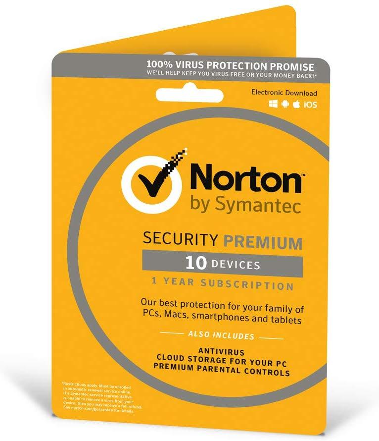 Norton Security Premium 2019 |10 Devices | 1 Year £16.24 (Prime) / £19.23 (non Prime) at Amazon