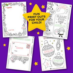 Free colour in Santa Kit (decorations, santa stop sign, letter etc)