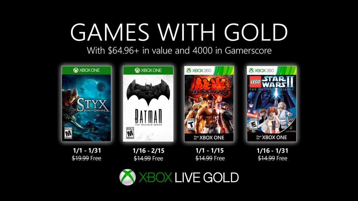 January Games With Gold - Styx: Shards of Darkness/ Tekken 6/ LEGO Star Wars II/ Batman: The Telltale Series @ XBox Store