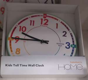 Learn to tell the time wall clock - £4.25 Instore @ Sainsbury's