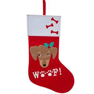 Red & white Woof Stocking at B&Q for £1