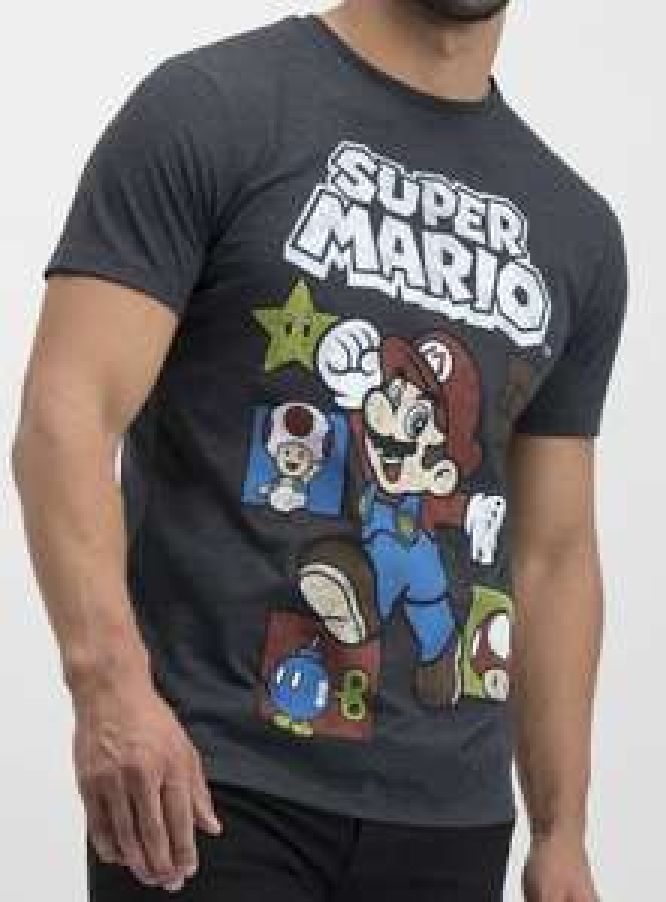 Super Mario Charcoal Grey Adults T-Shirt now £5 @ Argos