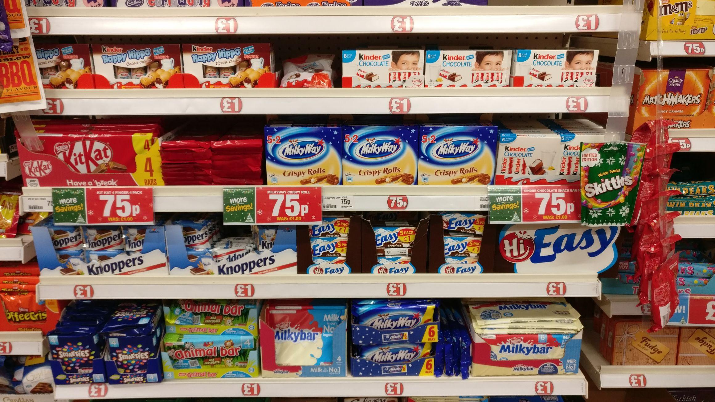 4x 4 finger Kit Kats 75p, 5x 2 crispy rolls 75p & 5 medium Kinder chocolate bars 75p - Poundland (Instore)