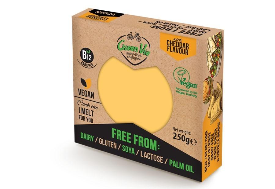 Green Vie 'chedder flavour' vegan cheese slices and block £0.89/£1.00 Heron Foods Sunderland