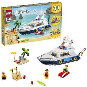 LEGO 31083 Creator 3in1 Cruising Adventures Luxury Yacht, Beach House and Helicopter Fuselage Model Building Set £22.49 @ Amazon
