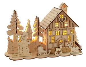 Pre-Lit Wooden House Snow Reindeer Scene with Tree Window Christmas Decoration Illuminated with Warm White LED Lights £3.99 (Addon) @ Amazon