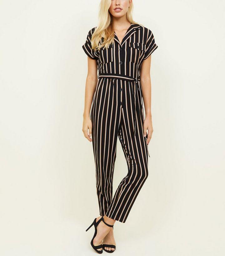 Black Stripe Twill Button Through Jumpsuit Newlook Sale £3