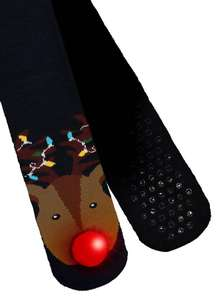 Christmas Black Reindeer Lights Antler Slipper Socks ( with light up nose ) Sizes 6-11 - £2.40 @ Argos Tu + free Click & Collect