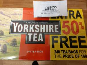 240 Yorkshire Tea bags for the price of 160 £4 instore @ Tesco