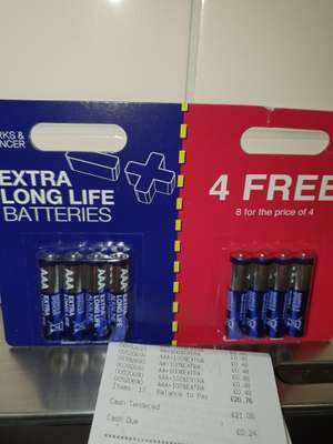 8 *AA/AAA Long life M&S batteries scanning at 48p instore (M&S Cookstown, Northern Ireland)